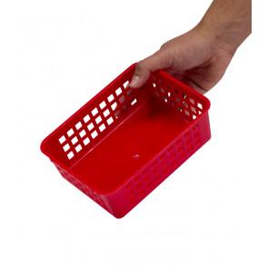 Plastový košík, A6 červený, 18,5x14x6 cm - POSLEDNÝCH 15 KS