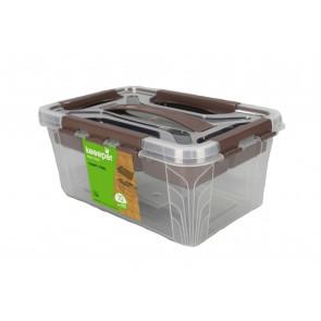 Plastový Clippy box s priehradkou, 4,2 l, priehľadný, 29x19x12,4 cm