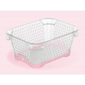 Plastový košík Jonas s protišmykovým dnom, A7, ružový, 16x12x7 cm