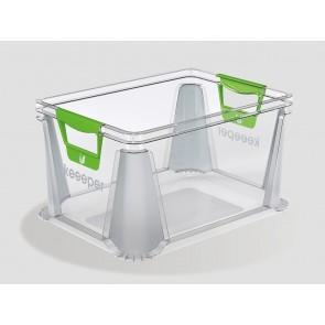 Plastový box Eurobox 20 l, priehľadný, 39x29x22 cm