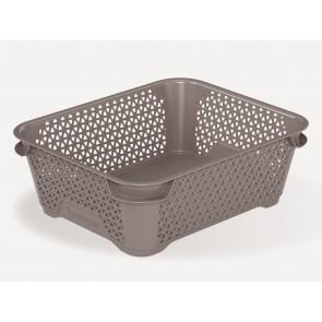 Plastový košík Mirko, A6, sivý, 20x16x7 cm