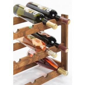 Regál na víno Riper, na 12 fliaš, Lazur - palisander, 38x44x25 cm