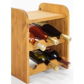 Regál na víno Ricos, na 6 fliaš, Lazur - gaštan, 38x33x27 cm