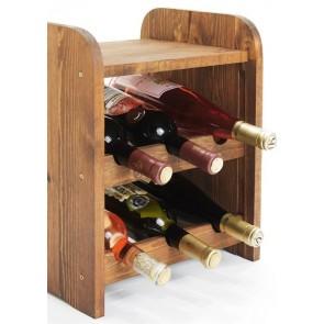 Regál na víno Ricos, na 6 fliaš, odtieň Lazur - palisander, 38x33x27 cm