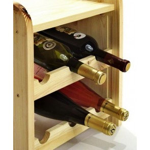 Regál na víno Ricos, na 6 fliaš, odtieň Natur, 38x33x27 cm
