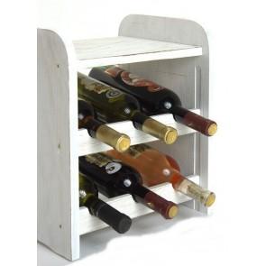 Regál na víno Ricos, na 6 fliaš, odtieň Provance - biely, 38x33x27 cm