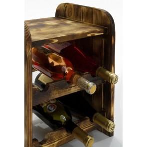 Regál na víno Ricos, na 6 fliaš, odtieň Rustikal, 38x33x27 cm