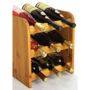 Regál na víno Riccar, na 9 fliaš, odtieň Lazur - mahagón, 38x33x27 cm