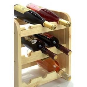 Stojan na víno Riccar, na 9 fliaš, odtieň Natur, 38x33x27 cm