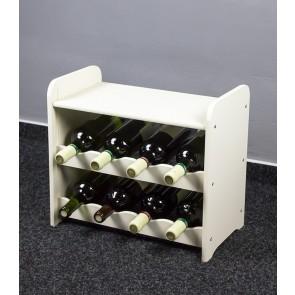 Regál na víno na 8 fliaš, biely, 38x42x27 cm