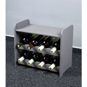 Regál na víno na 8 fliaš, tmavo sivý, 38x42x27 cm