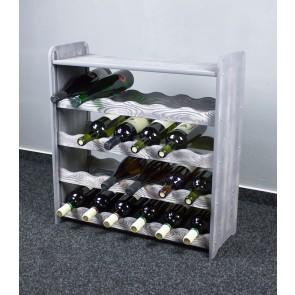 Regál na víno na 24 fliaš, sivý, 65x63x27 cm