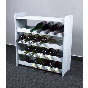 Regál na víno na 24 fliaš, svetlosivý, 65x63x27 cm